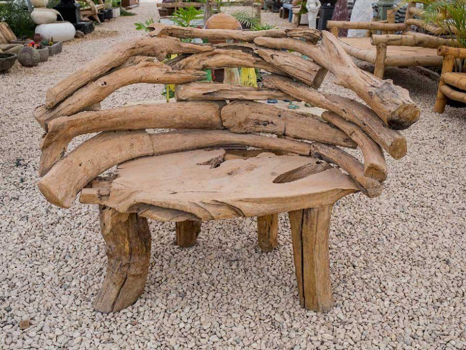 ספסל זוגי מענפי עץ טיק