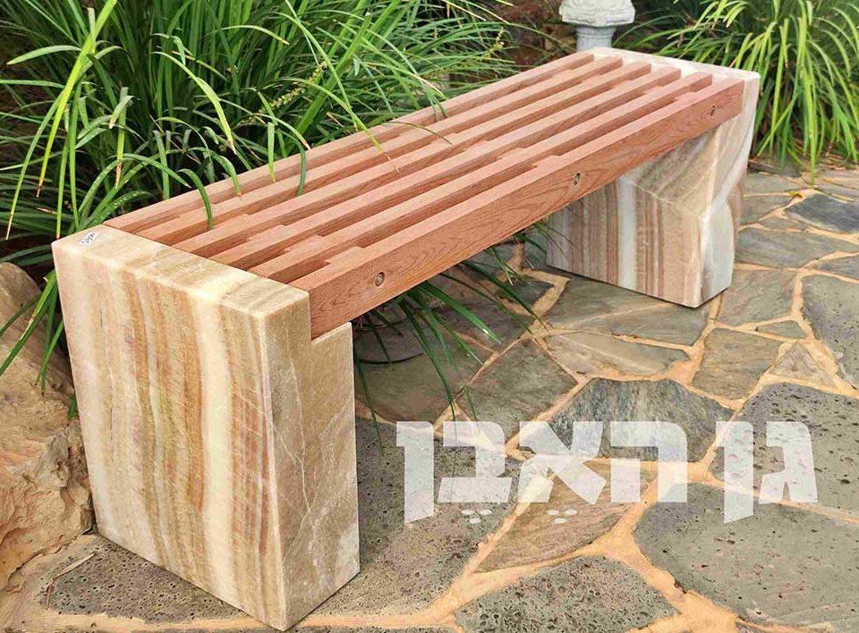 ספסל קוורץ בשילוב עץ
